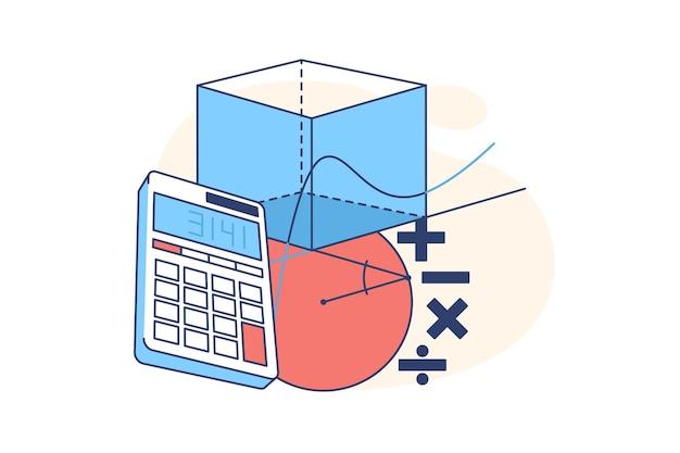 Calculadora y figuras geométricas ilustración de estilo plano