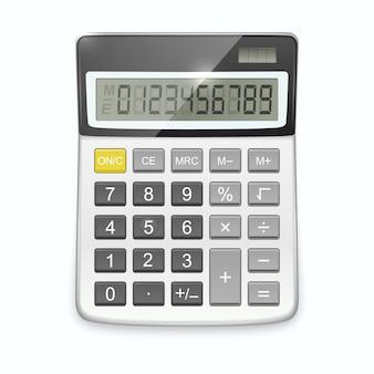 Calculadora realista aislado en blanco.