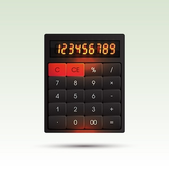 Calculadora sobre fondo brillante con dígitos brillantes de color naranja.
