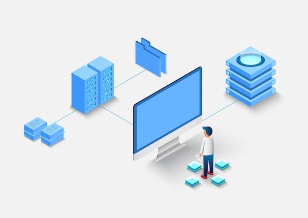 Cálculo del gran centro de datos, procesamiento de información, base de datos. enrutamiento de tráfico de internet, sala de servidores en rack isométrica.