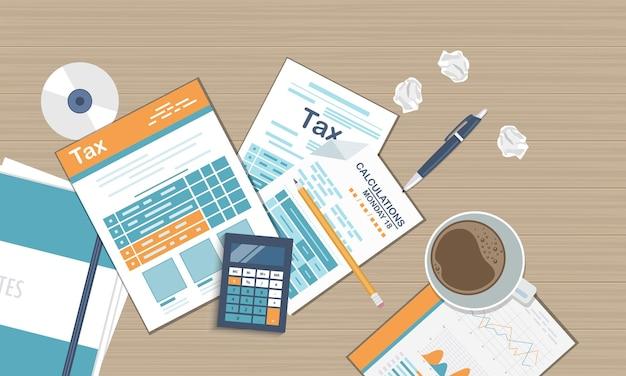 Cálculo de impuestos del gobierno estatal de la declaración de impuestos