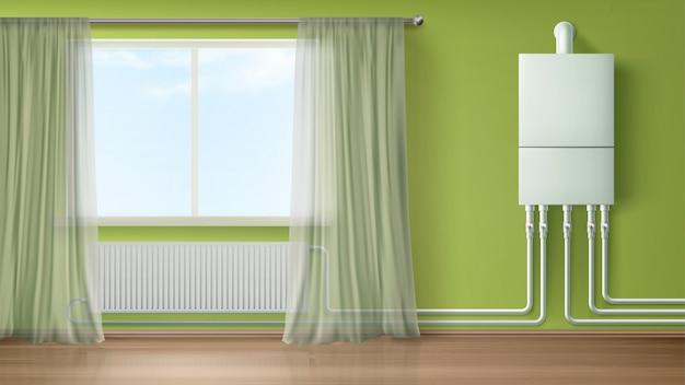 Caldera de agua y calentador de pared conectado con radiador