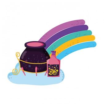 Caldero de bruja mágica con botellas de poción en arco iris