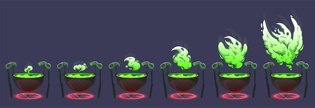 Caldero de bruja con poción mágica hirviendo verde y humo con símbolo brillante en forma de pájaro