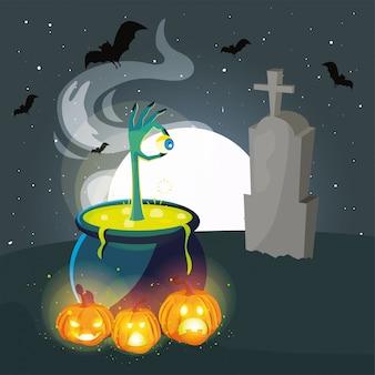 Caldero burbujeante de bruja en escena del cementerio