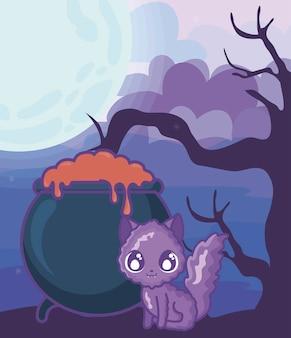 Caldero burbujeante de bruja con gato en escena de halloween