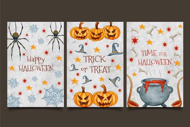 Caldero y calabazas acuarelas tarjetas de halloween