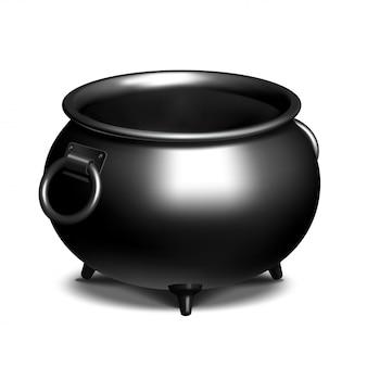 Caldero de hierro negro vacío vintage