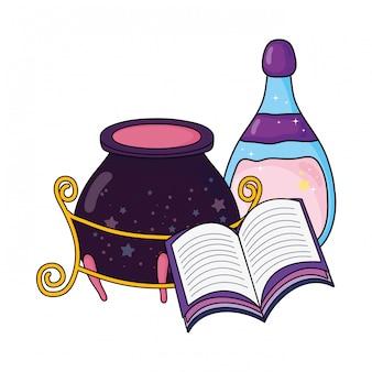 Caldero mágico de brujas con botella de poción y libro