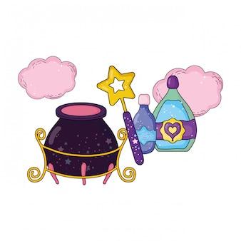 Caldero mágico de brujas con botella de poción y varita