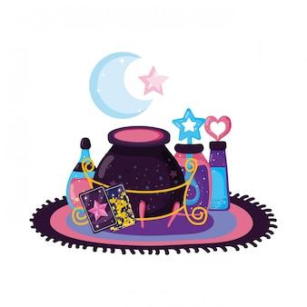 Caldero mágico de brujas con botellas de pociones.