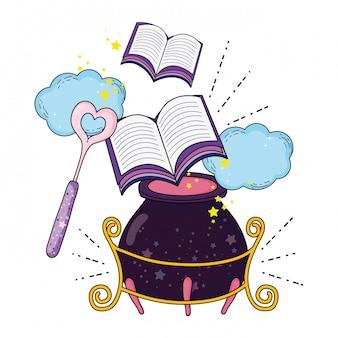 Caldero mágico de brujas con libro.