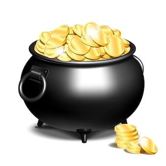 Caldero o una olla negra llena de monedas de oro.