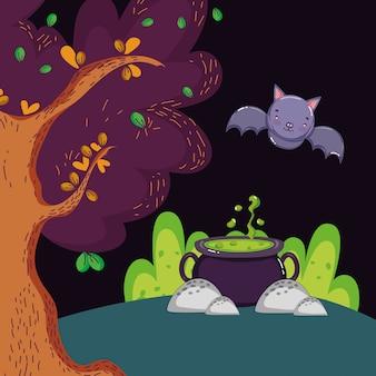 Caldero poción murciélago bosque halloween
