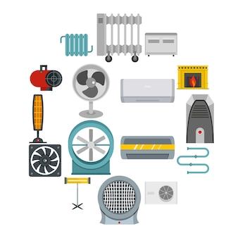 Calefacción iconos de aire de refrigeración en estilo plano