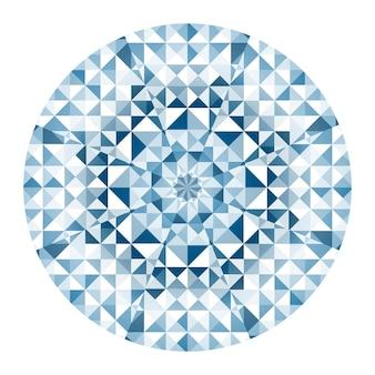 Caleidoscopio azul redondo patrón geométrico aislado sobre fondo blanco.