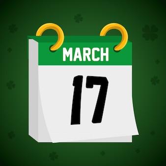 Calendario con 17 de marzo día san patricio