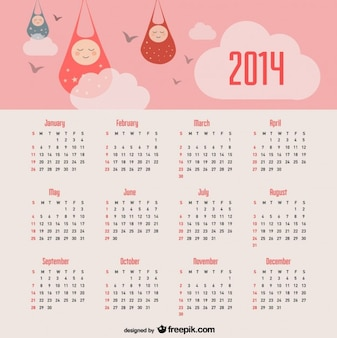 Calendario 2014 anuncio de bebé y cielo de color rosa