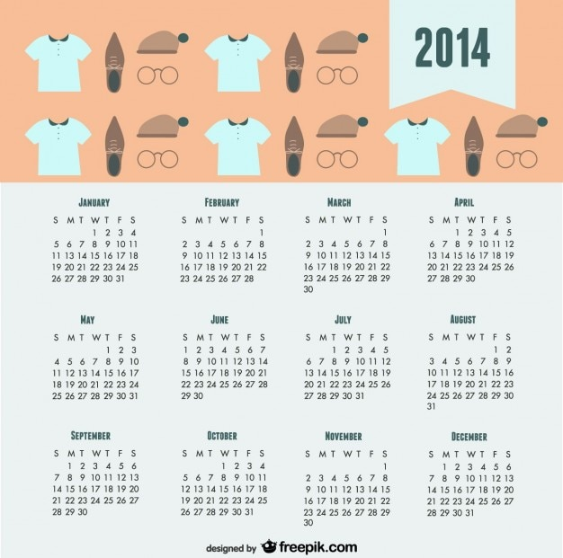 Calendario 2014 de aspecto moderno de moda