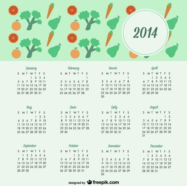Calendario 2014 de diseño de frutas y verduras de estilo de vida saludable
