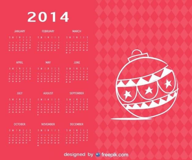 Calendario 2014 de navidad con diseño de color rojo