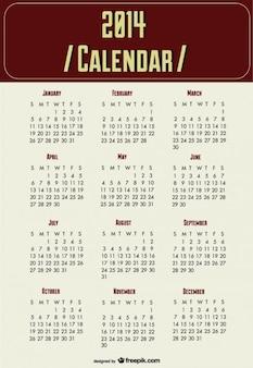 Calendario 2014 de planificación del año nuevo