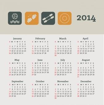 Calendario 2014 de diseño conceptual de deportes y salud