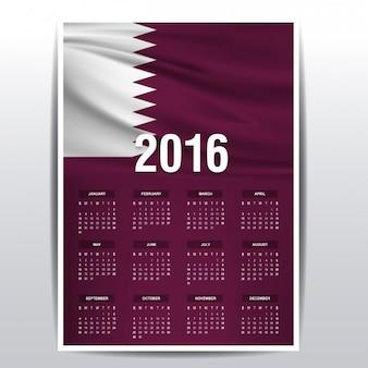Calendario de 2016 de la bandera de katar