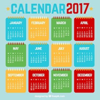 Calendario de 2017 colorido en diseño plano