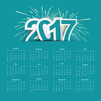 Calendario 2017 con fuegos artificiales