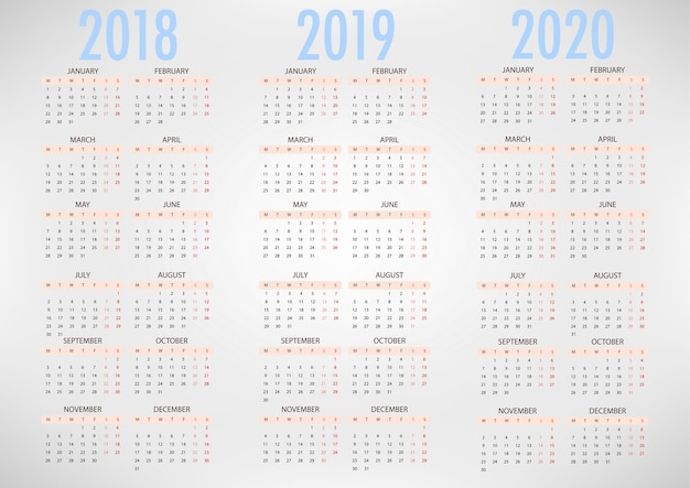 Calendario para 2018 2019 2020 plantilla simple del vector