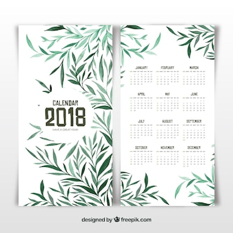 Calendario 2018 con hojas verdes