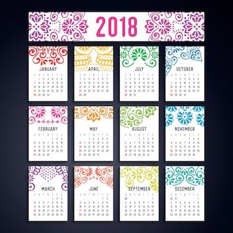 Calendario 2018. elementos decorativos vintage. patrón oriental, ilustración vectorial.