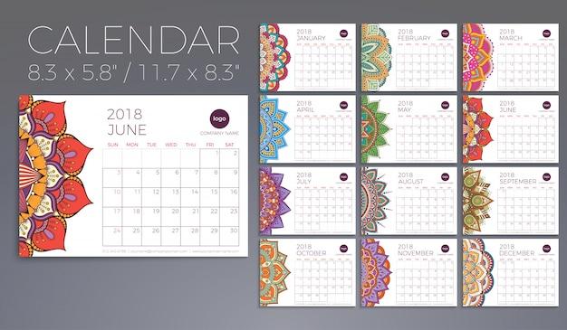 Calendario 2018 elementos decorativos vintage
