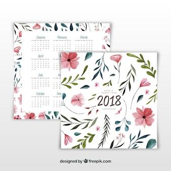 Calendario 2018 en acuarela