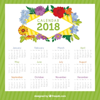 Calendario de 2018 con flores bonitas