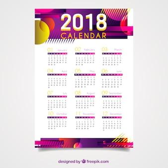 Calendario 2018 con formas abstractas vector gratuito