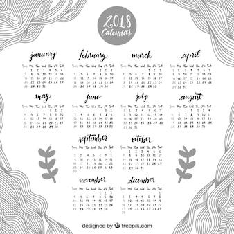 Calendario 2018 con líneas dibujadas a mano