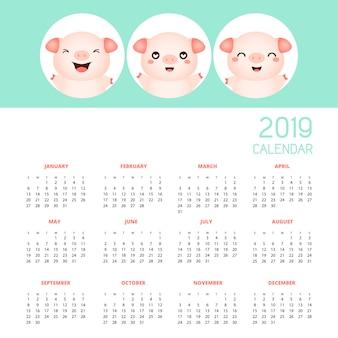 Calendario 2019 con lindos cerdos. dibujado a mano ilustración vectorial