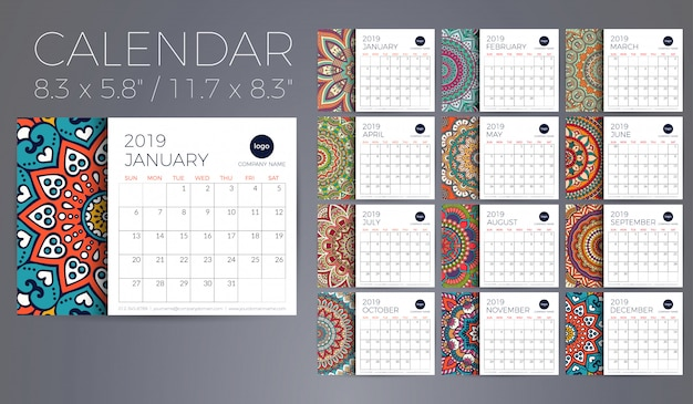 Calendario 2019 con mandalas.