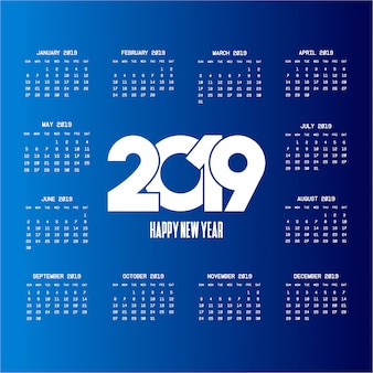 Calendario 2019 con vector de diseño creativo