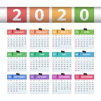 Calendario 2020 año. plantilla de negocio