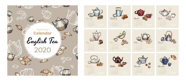 Calendario 2020 comida y té arte conjunto de vectores. calendario de la fiesta del té bosquejado. establecer páginas de 12 meses. teteras, tazas, galletas.