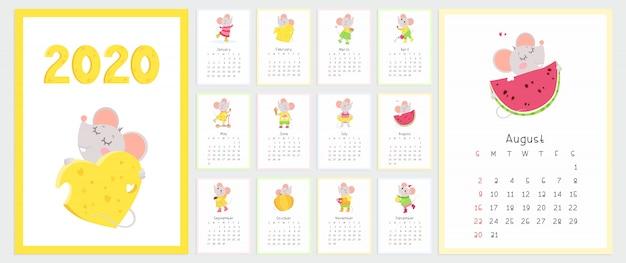 Calendario 2020 con conjunto de plantillas de vector plano de ratones