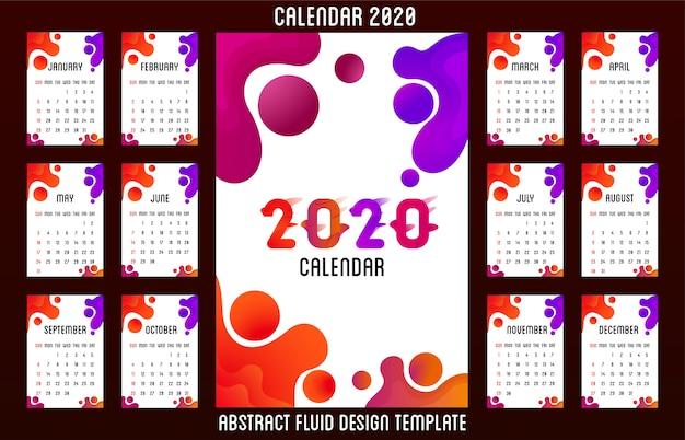 Calendario 2020 diseño fluido abstracto