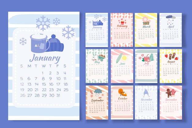 Calendario 2020 con elementos estacionales