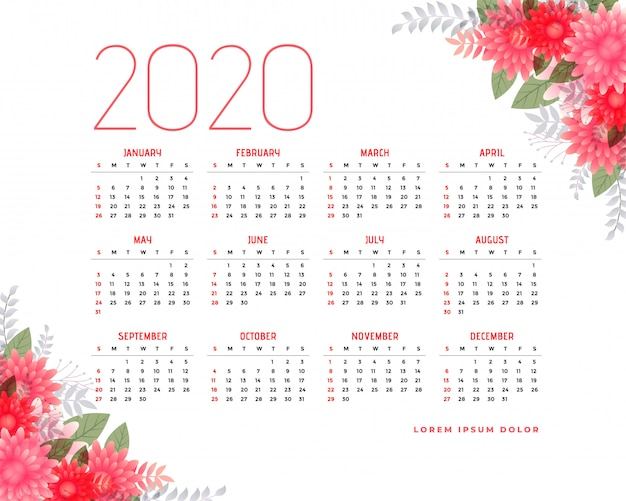 Calendario 2020 con elementos florales