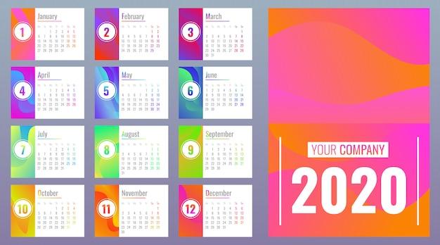 Calendario 2020 con meses, estilo de dibujos animados