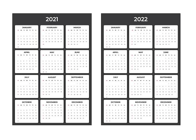 Calendario 2021-2020 - ilustración. plantilla. la semana de maquetas comienza el domingo