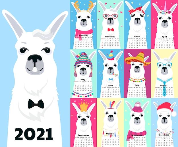 Calendario para 2021 de domingo a sábado. linda llama en diferentes trajes personaje de dibujos animados de alpaca